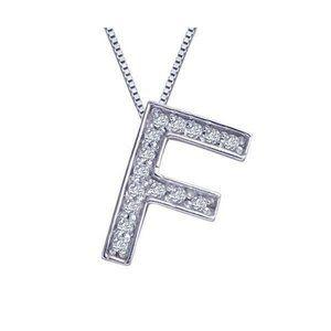 Jewelry - INITIAL F pendant necklace 1.5 carats round diamon